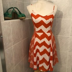 Fire Los Angeles Orange & White Dress, Size M